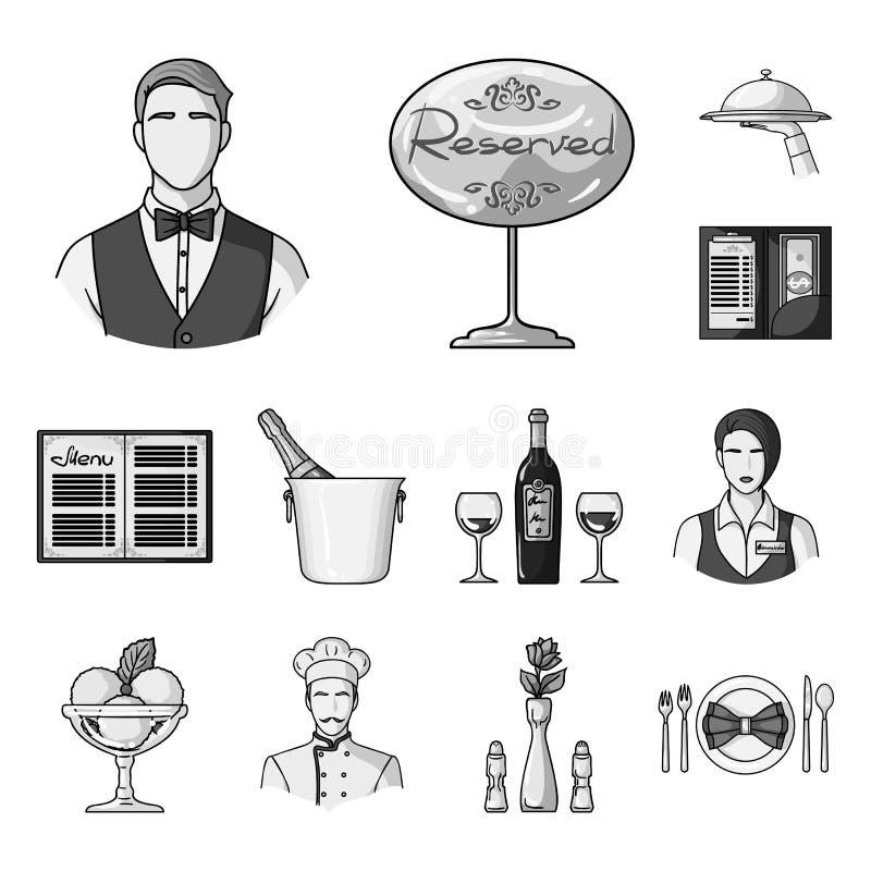 Einfarbige Ikonen des Restaurants und der Bar in der Satzsammlung für Design Vergnügen, Lebensmittel und Alkohol vector Netz des  stock abbildung
