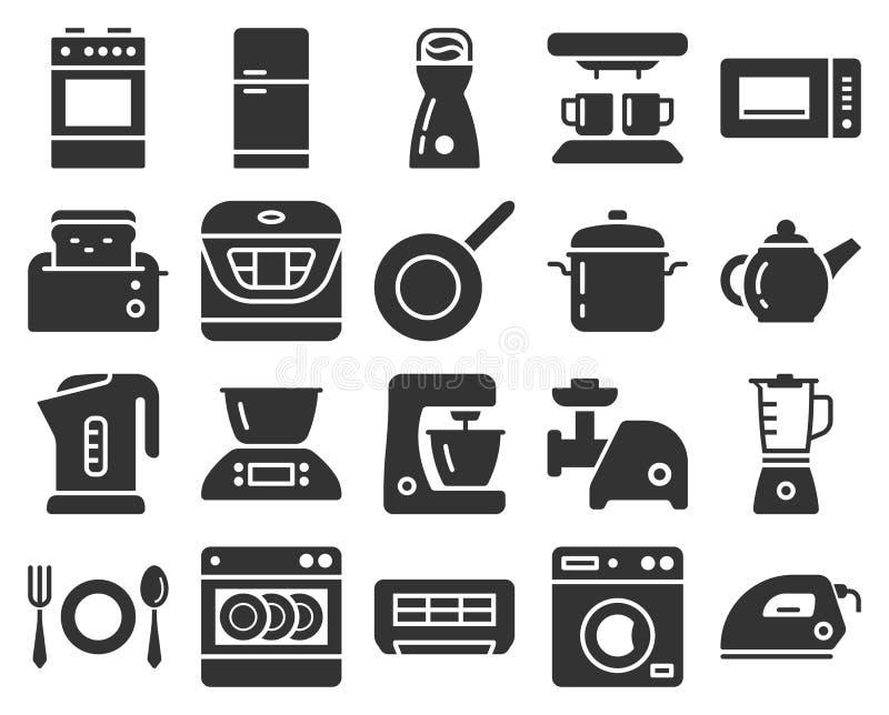 Einfarbige Ikonen stellten von einigen Küchengeräten ein stock abbildung