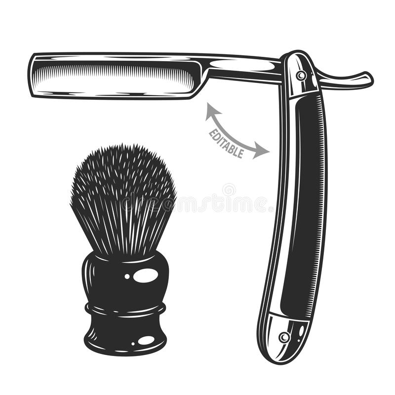 Einfarbige Illustration des geraden Rasiermessers und des Rasierpinsels lizenzfreie abbildung