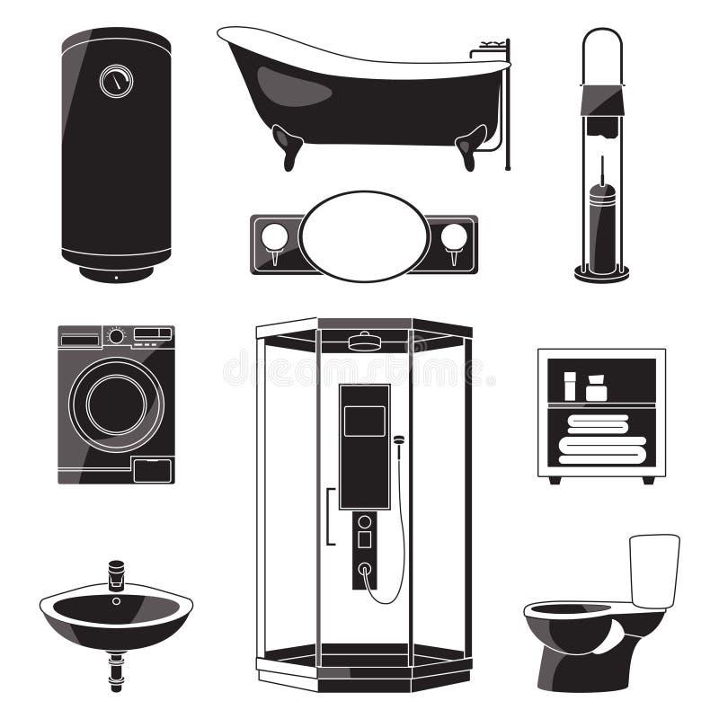Einfarbige Illustrationen von Badezimmermöbeln und -anderen gesundheitliche Symbole Schwarze Bilder des Vektors lokalisiert lizenzfreie abbildung