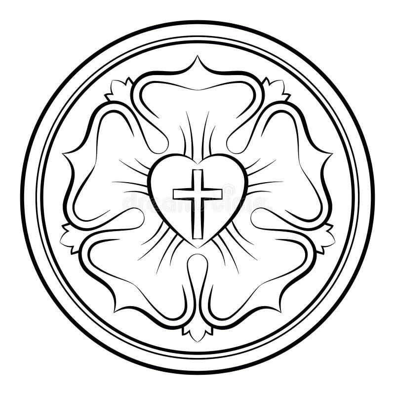 Einfarbige kalligraphische Illustration Luther-Rose lizenzfreie abbildung