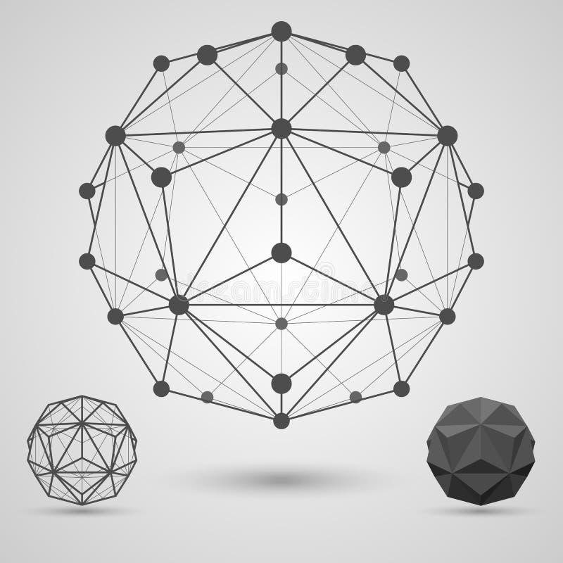 Einfarbige Karkasse von verbundenen Linien und von Punkten Geometrisches Element des kleinen triambic Icosahedron stock abbildung