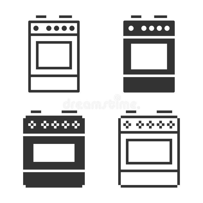 Einfarbige Kocherikone in den verschiedenen Varianten stock abbildung