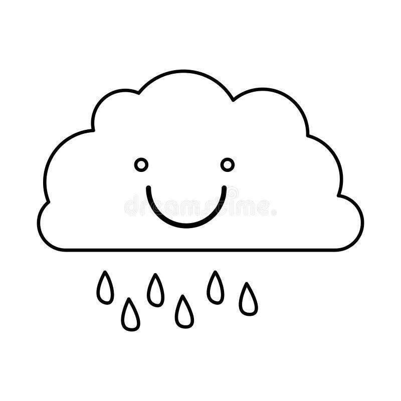 einfarbige Kontur der lächelnden Wolke mit Nieselregen lizenzfreie abbildung