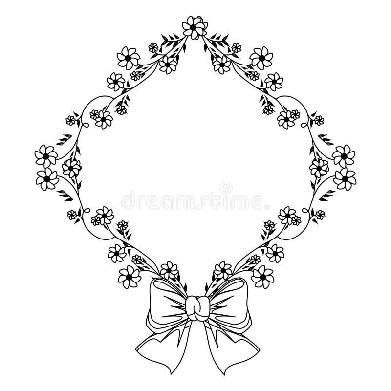 Einfarbige Kontur mit Diamantrahmen mit Kriechpflanzen und Blumen und Band lizenzfreie abbildung