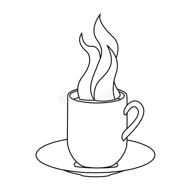 einfarbige Kontur mit heißem Becher der Kaffeeumhüllung auf Teller vektor abbildung