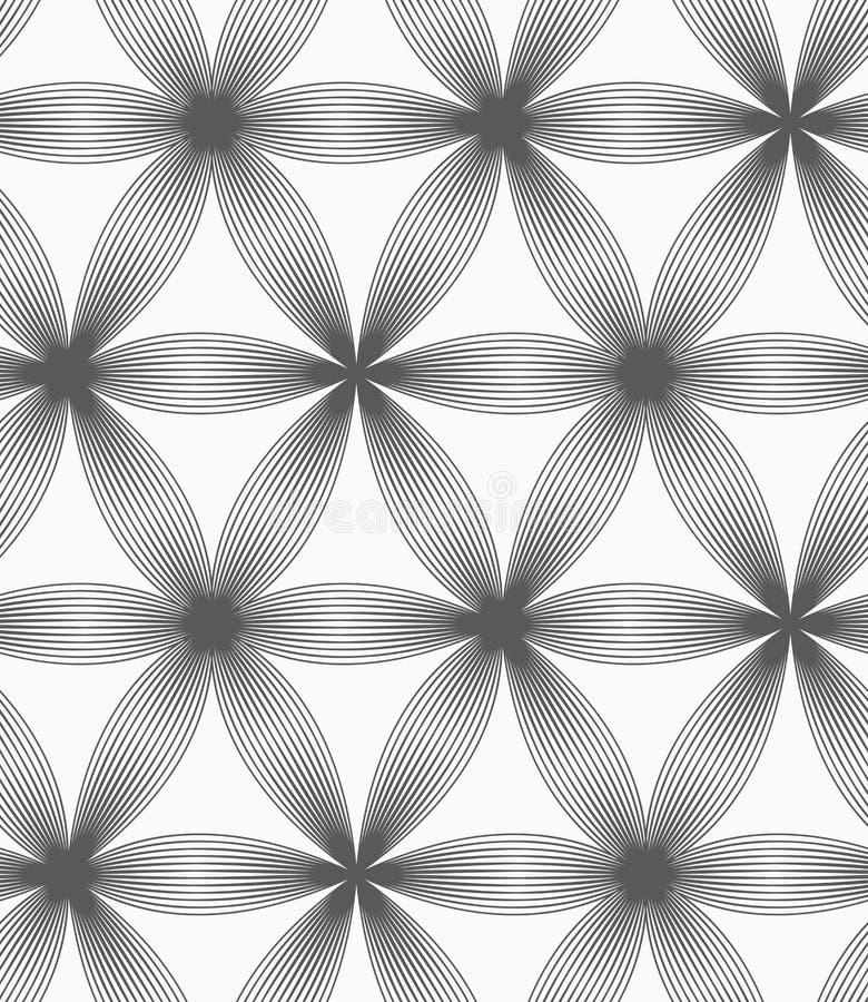 Einfarbige lineare gestreifte sechs Pedalblumen vektor abbildung