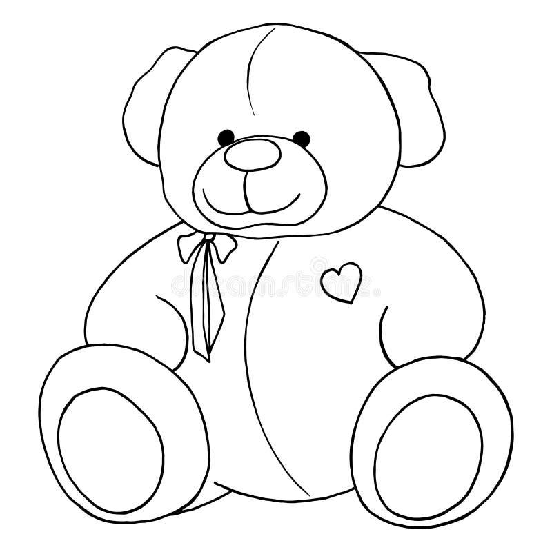 Einfarbige Linie Kunst Karikatur-reizenden Teddy Bear-Spielzeugs lokalisiert stock abbildung