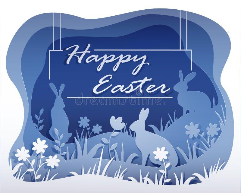 Einfarbige Ostern-Illustration im Stil der Papierkunst mit Ihrem Text stock abbildung