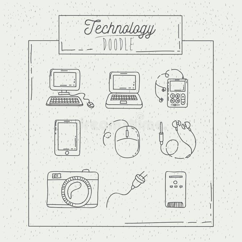 Einfarbige Plakathand gezeichnet mit Technologie des Alltagsgebrauchs lizenzfreie abbildung