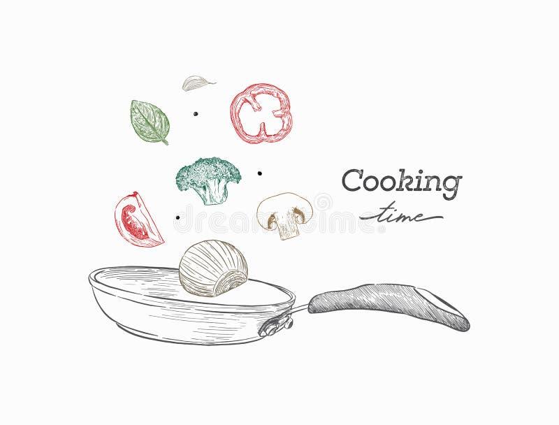 Einfarbige realistische Zeichnung der Wokwanne und -gemüses kochen stock abbildung