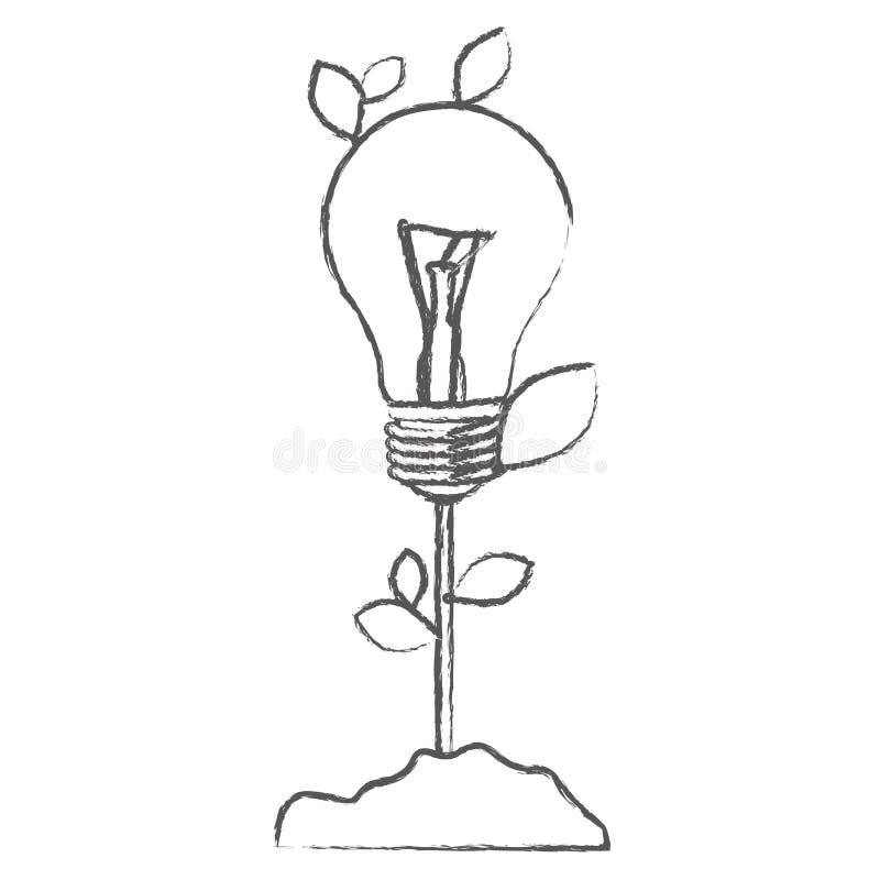 einfarbige Skizze mit Betriebsstamm mit Blättern und Glühbirne stock abbildung
