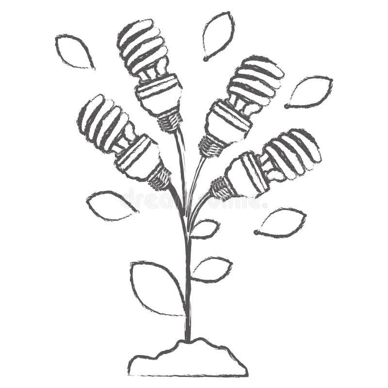 einfarbige Skizze mit Betriebsstamm mit Blättern und Leuchtstoffbirnen winden sich vektor abbildung