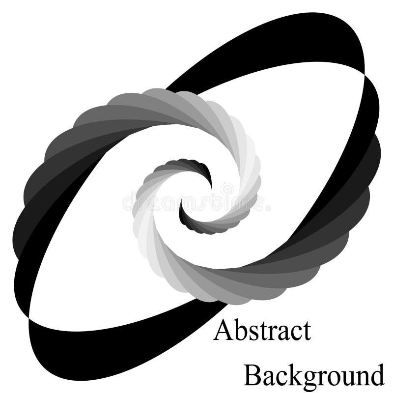 Einfarbige Spiralen, die zur Mitte zusammenlaufen Elliptisches Gestaltungselement lizenzfreie abbildung