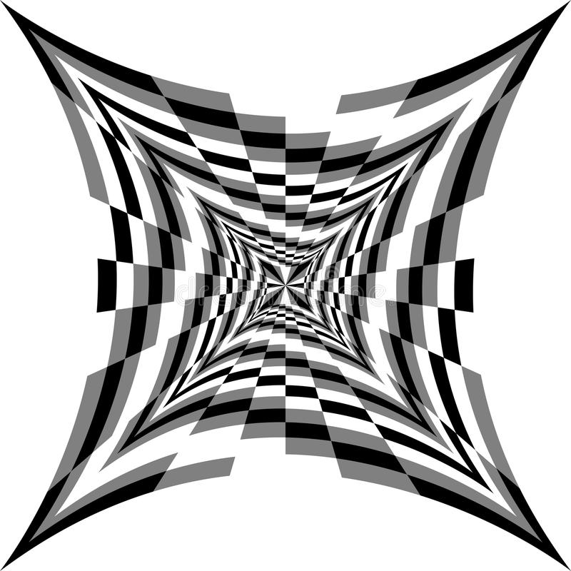 Einfarbige Spiralen von den konkaven Rechtecken, die von der Mitte erweitern Optische Täuschung des Volumens und der Tiefe lizenzfreie abbildung