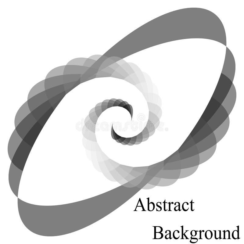 Einfarbige transparente Spiralen, die zur Mitte zusammenlaufen Elliptisches Gestaltungselement lizenzfreie abbildung