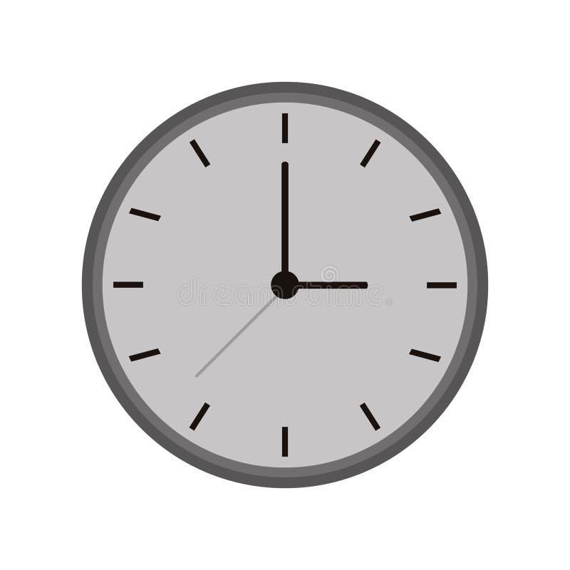 Einfarbige Uhrzeit-Uhrarbeitsikone lizenzfreie abbildung
