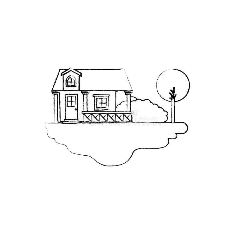 Einfarbige unscharfe Schattenbildszene Landschafts- und Fassadenhauses des im Freien mit Geländer und Dachboden stock abbildung