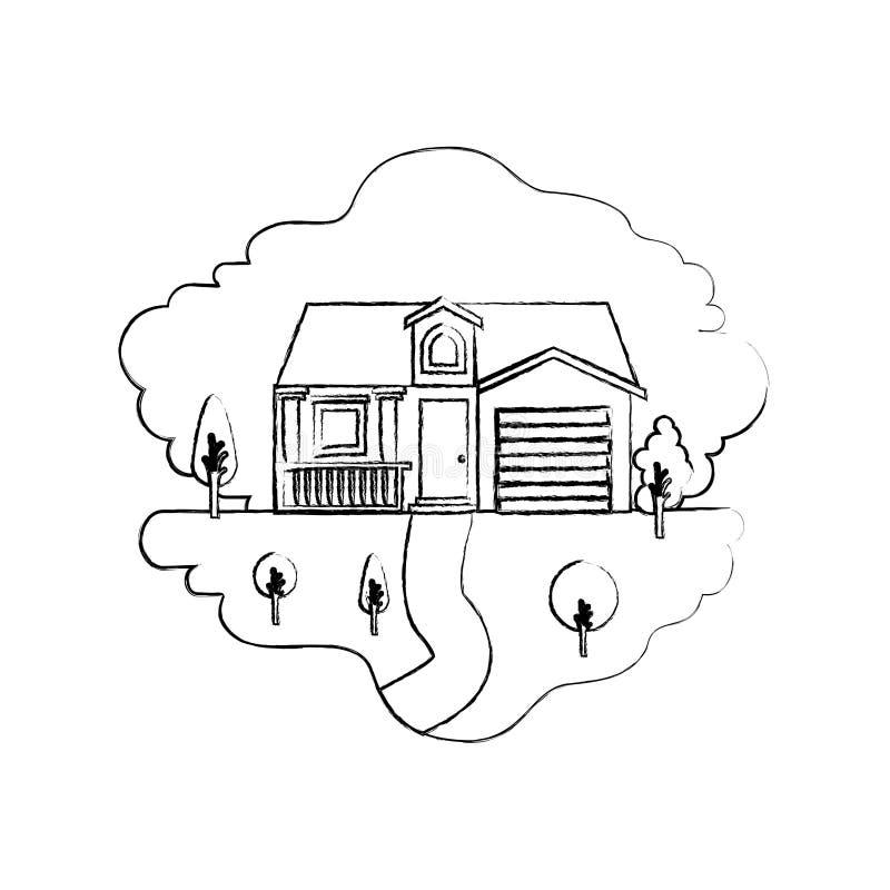 Einfarbige unscharfe Schattenbildszene von Naturlandschaft und von Fassadenhaus mit Garage und Dachboden vektor abbildung