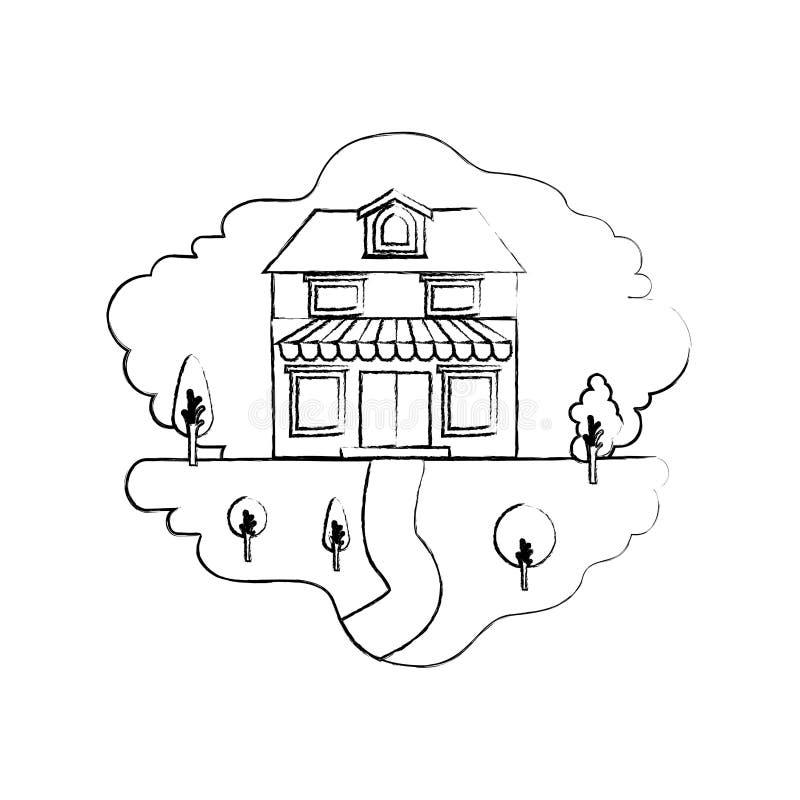 Einfarbige unscharfe Schattenbildszene von Naturlandschaft und von Haus mit zwei Böden mit Dachboden und Markise vektor abbildung