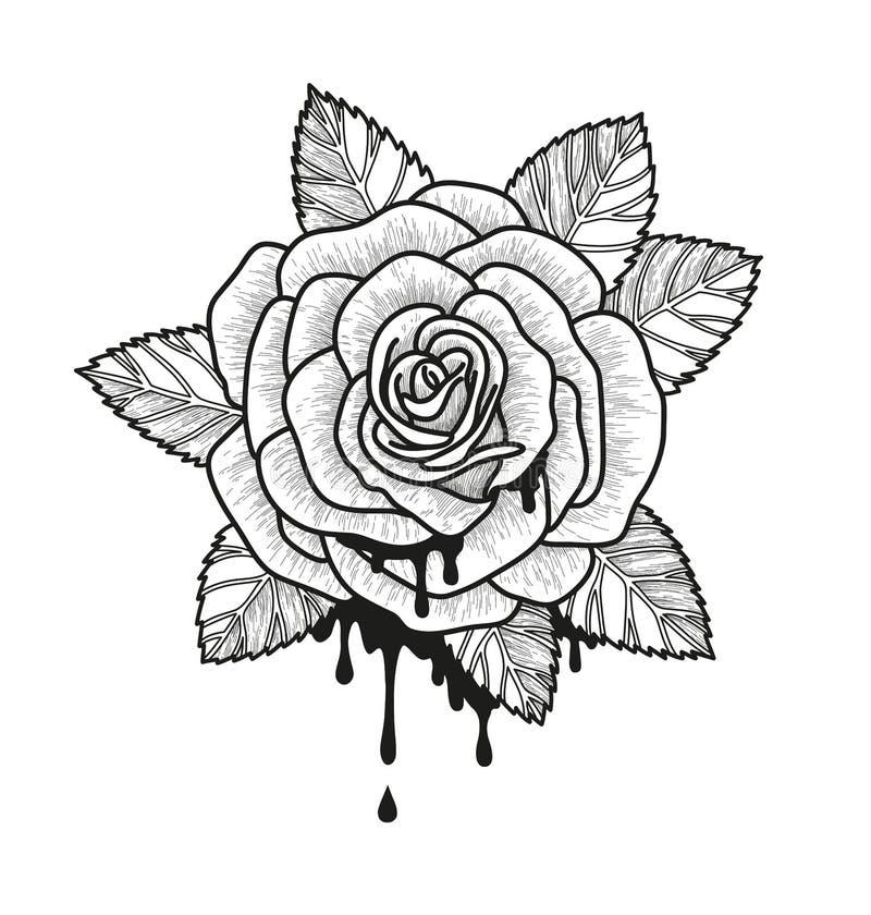 Einfarbige Vektorillustration Rosen-Blume Schöne Rose getrennt auf weißem Hintergrund Element für Design der Tätowierung lizenzfreie abbildung