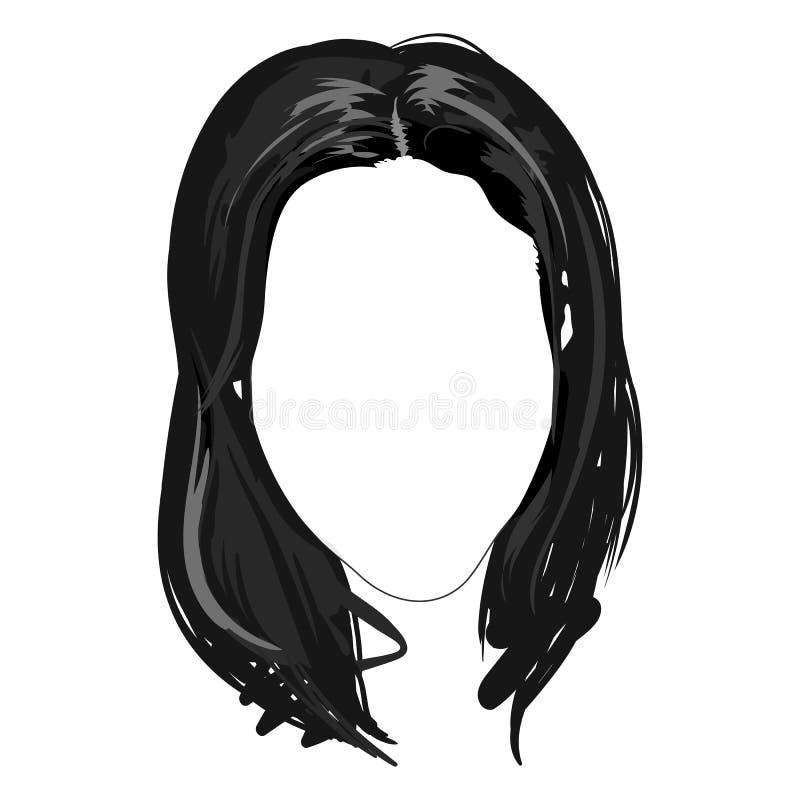 Einfarbige weibliche lange Brunettehaarschnittfrisurhaargesichts-Modeprobe skizzierte Hand gezeichneten lokalisierten Vektor der  stock abbildung