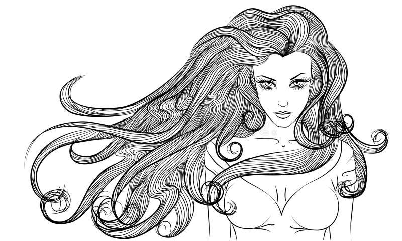Einfarbige Zeichnung des jungen langen Haarfrauen-Entwurfs vektor abbildung