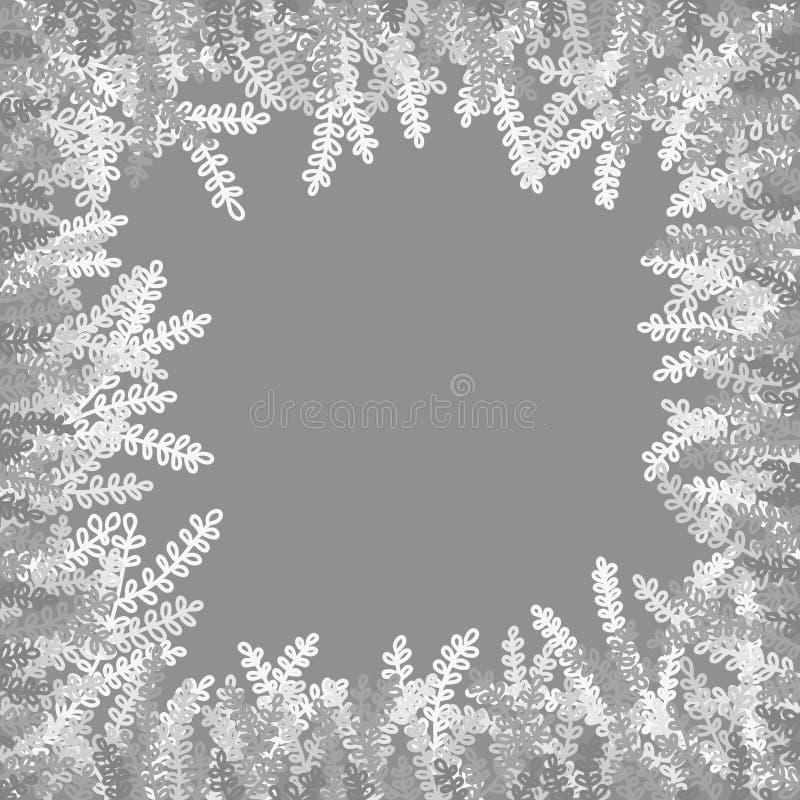 Einfarbige Zeichnung Weiße Niederlassungen auf einem grauen Hintergrund lizenzfreie abbildung