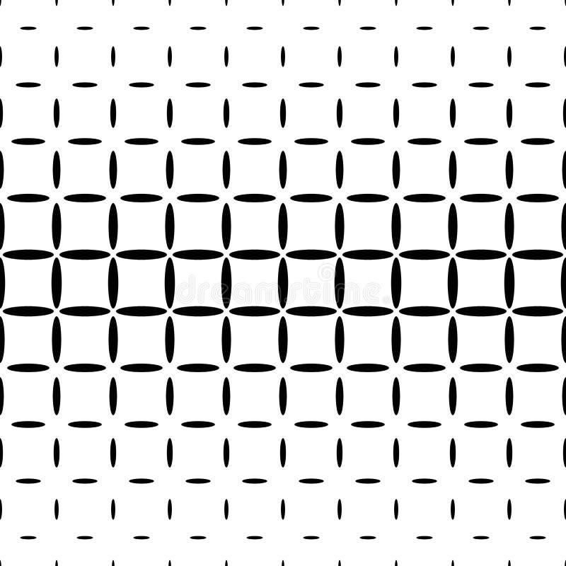 Einfarbiger abstrakter Ellipsenmusterhintergrund - geometrische Vektorschwarzweiss-graphik stock abbildung