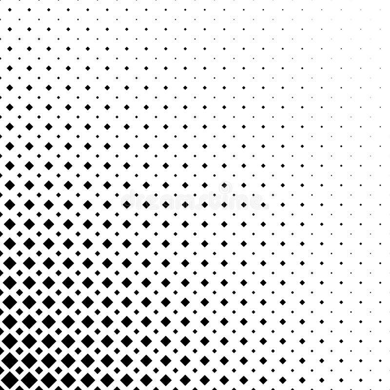 Einfarbiger abstrakter quadratischer Musterhintergrund - geometrische Vektorschwarzweiss-graphik von den diagonalen Quadraten stock abbildung