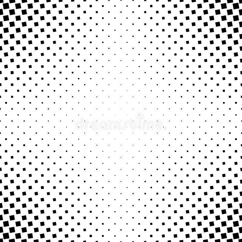 Einfarbiger abstrakter quadratischer Musterhintergrund - geometrische Vektorschwarzweiss-graphik von den eckigen Quadraten stock abbildung