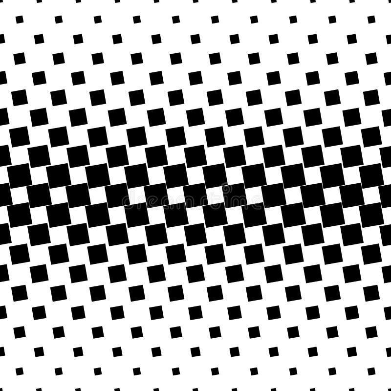Einfarbiger abstrakter quadratischer Musterhintergrund - geometrische Vektorschwarzweiss-graphik von den eckigen Quadraten vektor abbildung