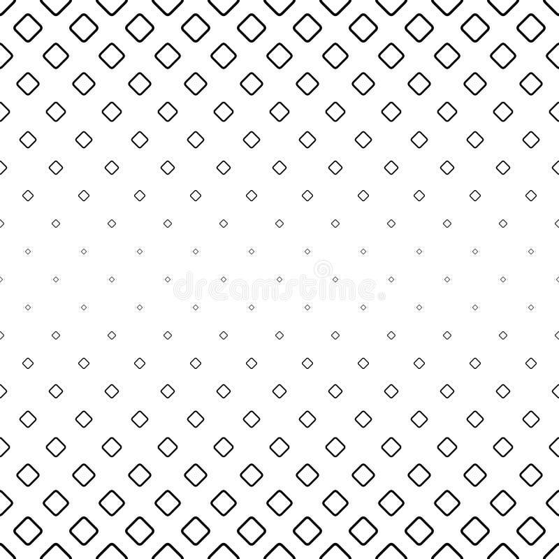 Einfarbiger abstrakter quadratischer Musterhintergrund - geometrische Vektorschwarzweiss-graphik von der Diagonale rundete Quadra lizenzfreie abbildung