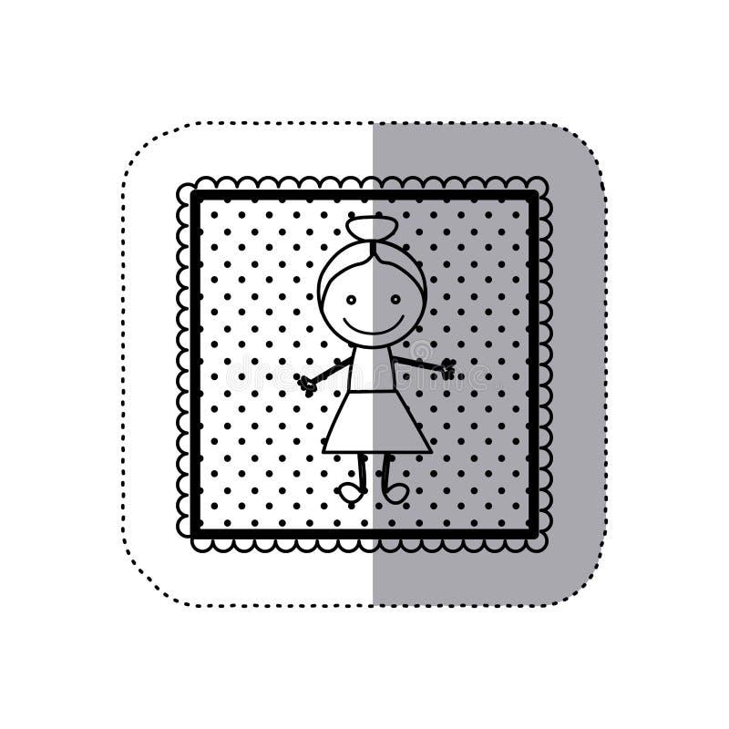 einfarbiger Aufkleber im quadratischen Rahmen und mit Hand gezeichnetem Mädchen punktiert stock abbildung