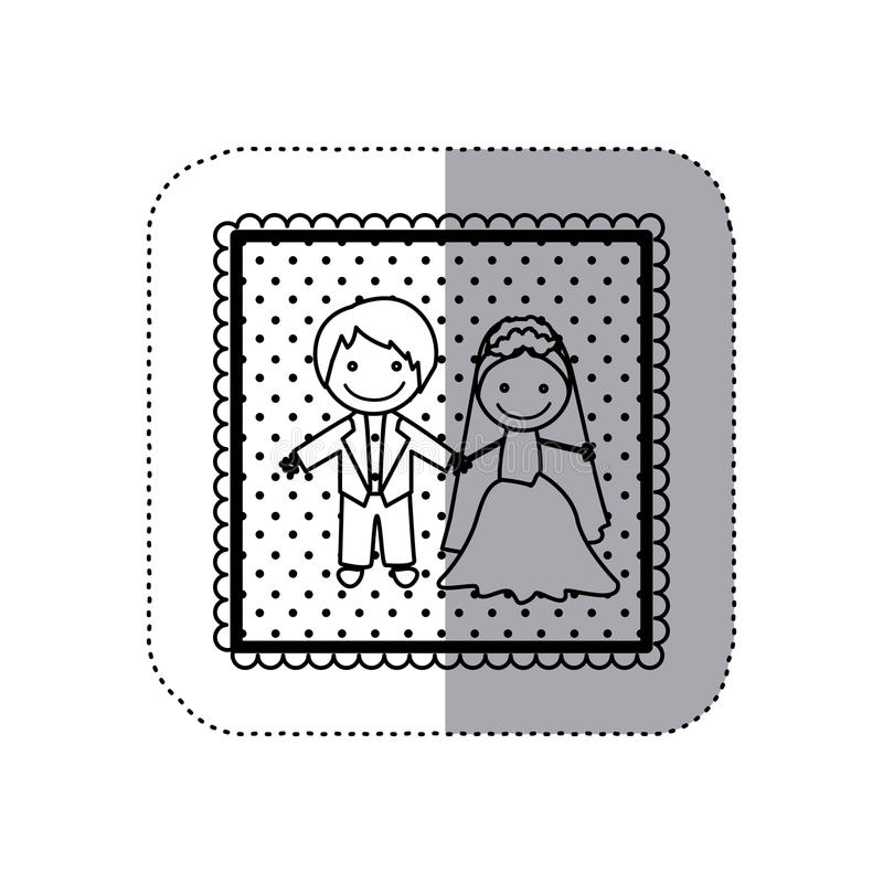 einfarbiger Aufkleber im quadratischen Rahmen und mit Hand gezeichnetem verheiratetem Paar punktiert stock abbildung