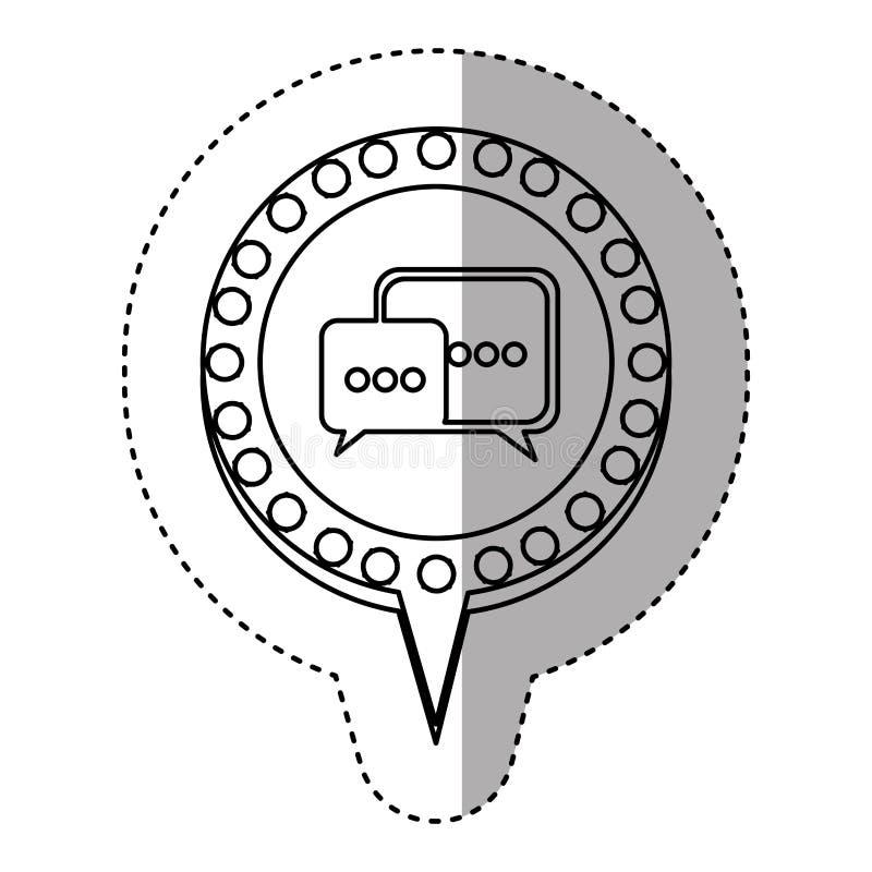 einfarbiger Aufkleber mit Dialog in der Kreisrede mit der Kontur punktiert und Endstück stock abbildung