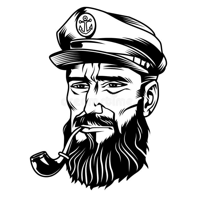 Einfarbiger bärtiger Seemann der Weinlese lizenzfreie abbildung