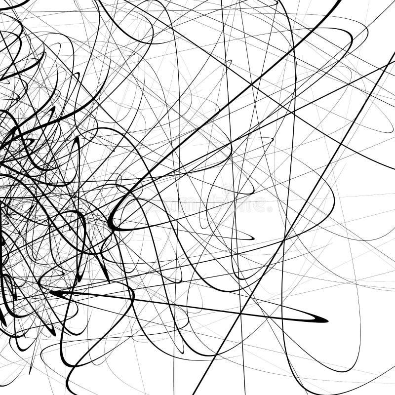 Einfarbiger gelegentlicher chaotischer Squiggle zeichnet abstraktes künstlerisches patte vektor abbildung