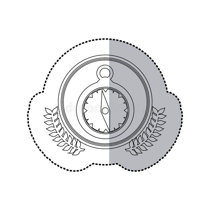 Einfarbiger halber Schatten und Uhr des Aufklebers im runden Rahmen mit Krone von Blättern vektor abbildung
