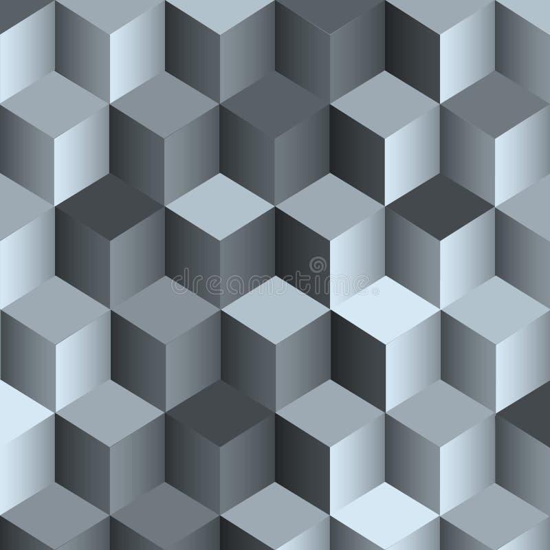 einfarbiger Hintergrund 3d mit Würfel lizenzfreie abbildung