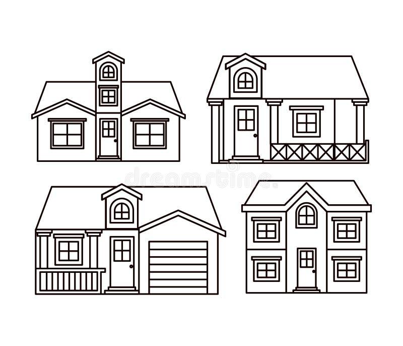 Einfarbiger Hintergrund mit Gruppe Hausfassaden stock abbildung