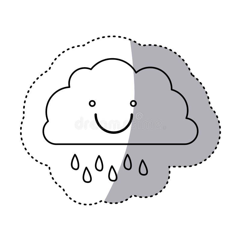 einfarbiger Konturnaufkleber der lächelnden Wolke mit Nieselregen stock abbildung