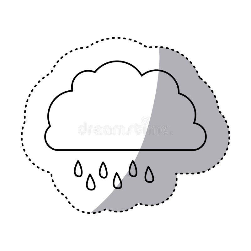 einfarbiger Konturnaufkleber der Wolke mit Nieselregen stock abbildung