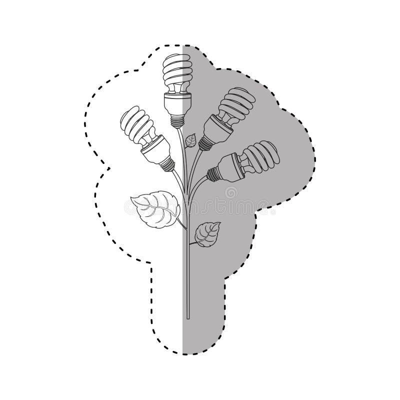einfarbiger Konturnaufkleber von gewundenen Leuchtstoffbirnen mit Betriebsstamm und -blättern lizenzfreie abbildung