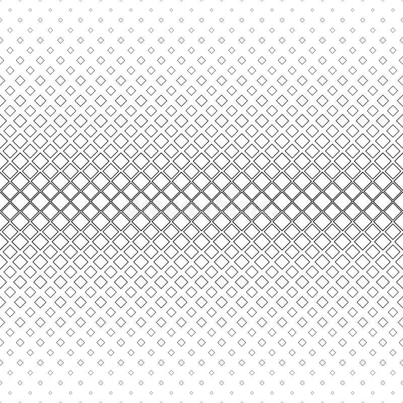Einfarbiger quadratischer Musterhintergrund - geometrische Vektorschwarzweiss-graphik von den diagonalen Quadraten stock abbildung