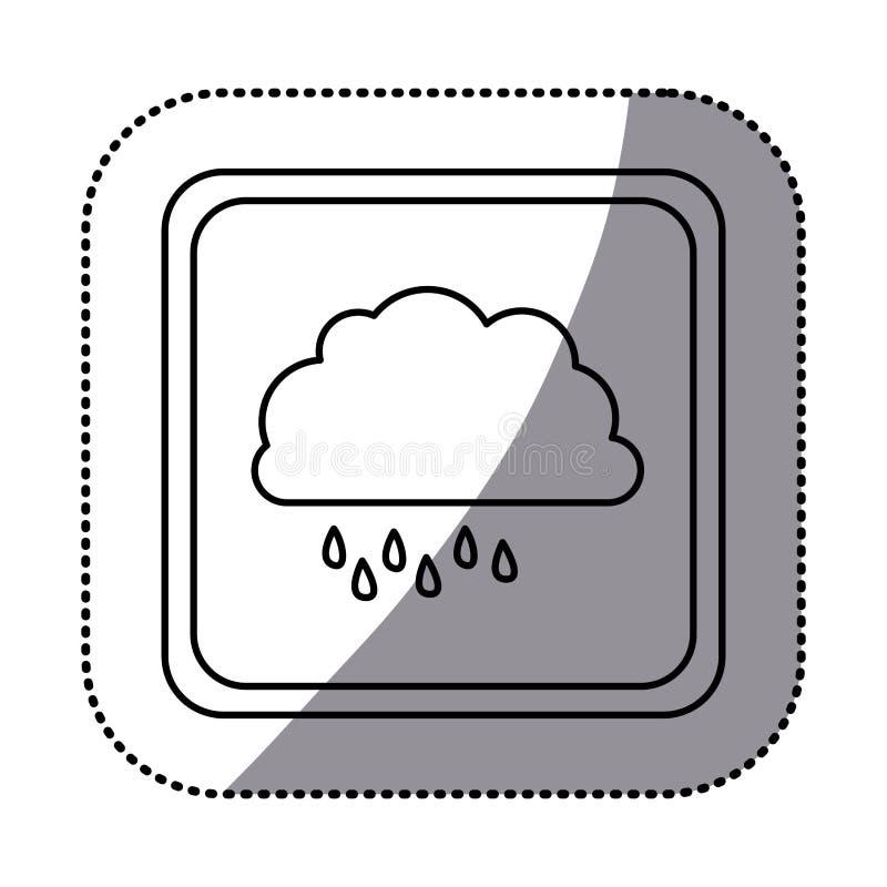 einfarbiger quadratischer Rahmen des Aufklebers mit Wolke mit Nieselregen vektor abbildung