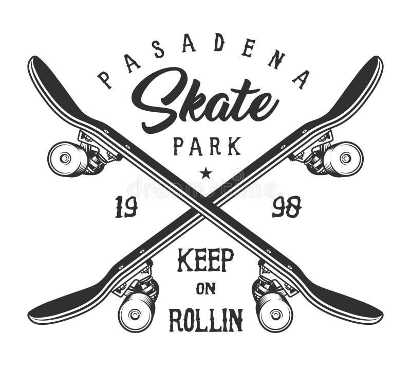 Einfarbiger Sport der Weinlese, der Logo Skateboard fährt stock abbildung