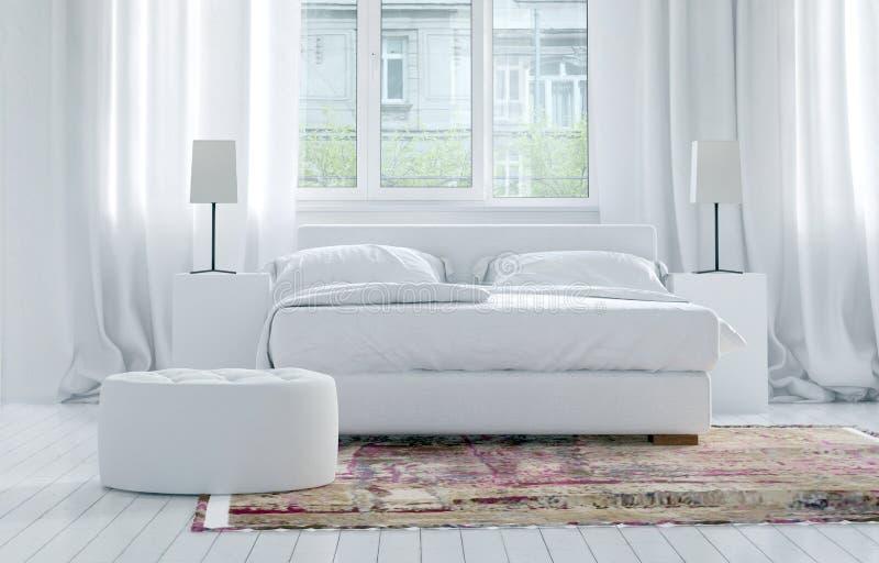 Einfarbiger weißer Schlafzimmerluxusinnenraum stock abbildung