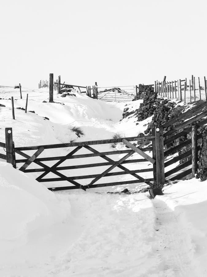 einfarbiges Bild eines Schnees bedeckte Feldweg mit hölzernen Toren und umgebenden Feldern und macht fest stockbild