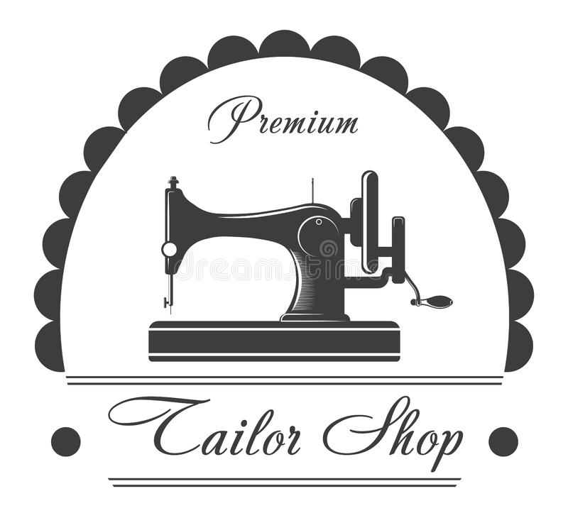 Einfarbiges Emblem des erstklassigen Schneidershops mit Nähmaschine vektor abbildung